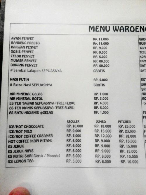 menu warung terkenal