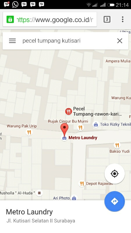 peta lokasi pecel tumpang kediri kutisari selatan 2