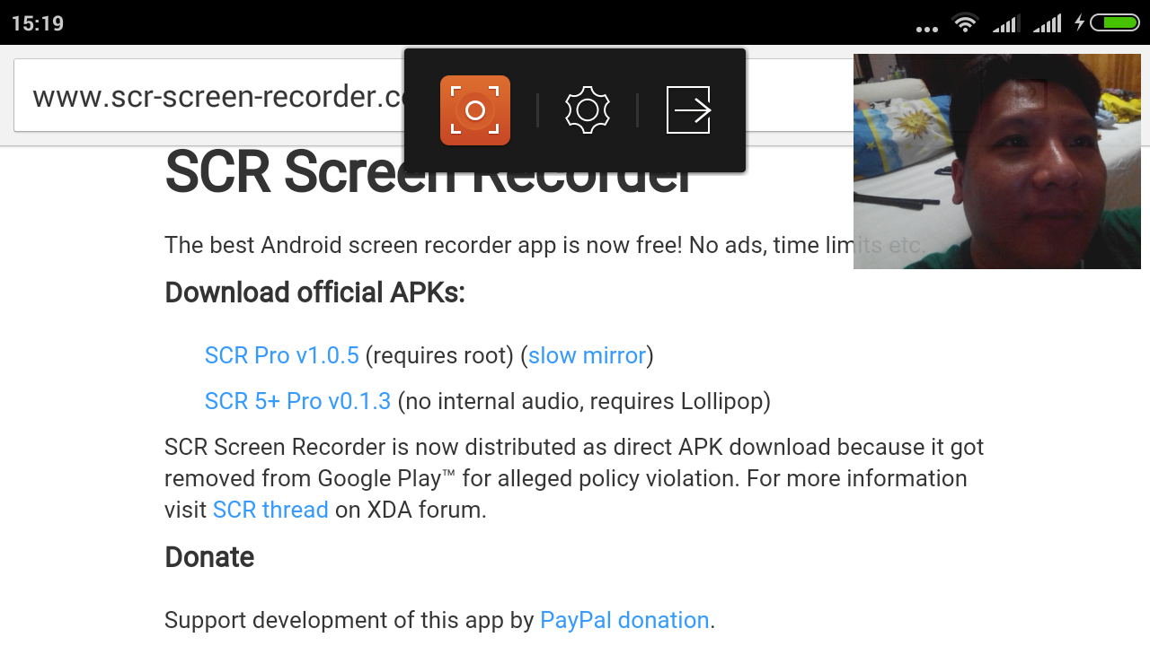 Screencast android dengan kamera depan