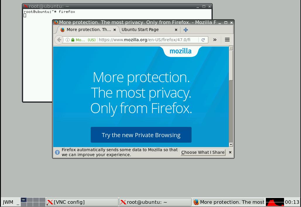 firefox browser pada vps