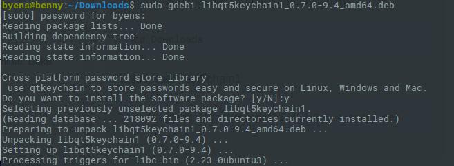install libqt5keychain1