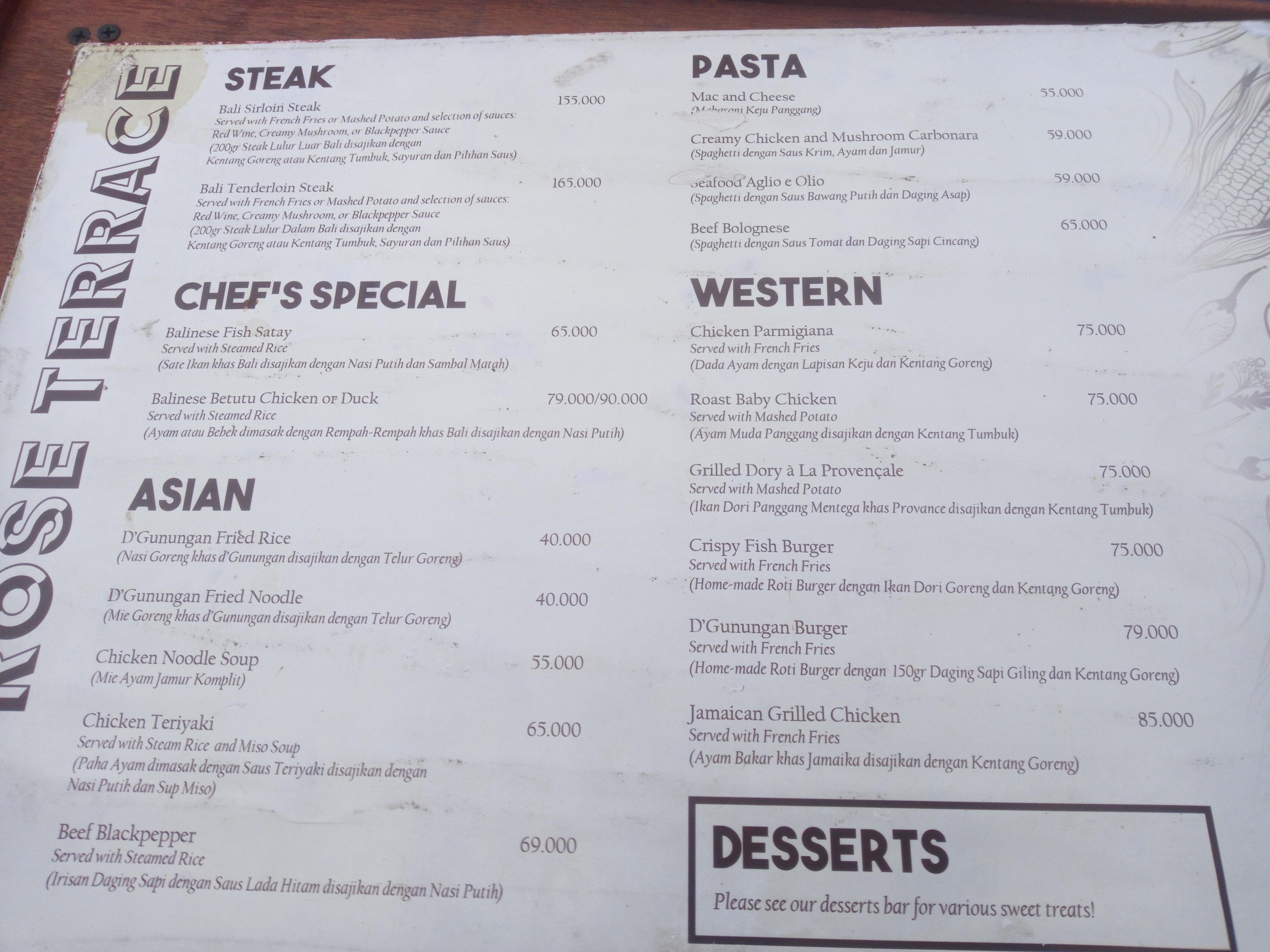 price list makanan