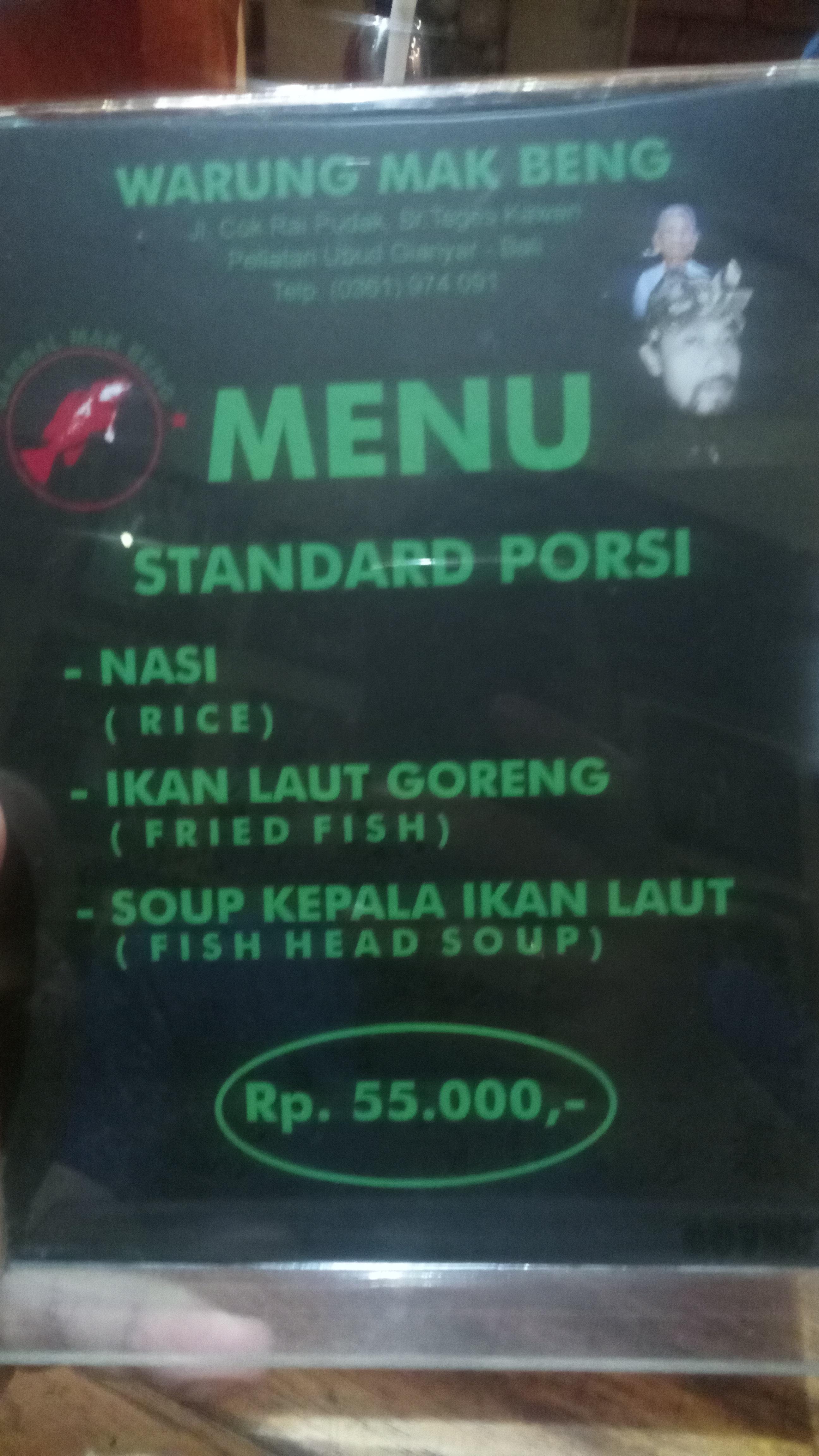 menu warung mak beng